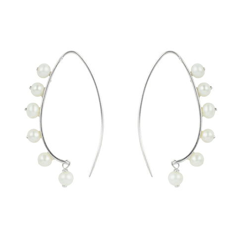 Pearl Beaded Crescent Earrings