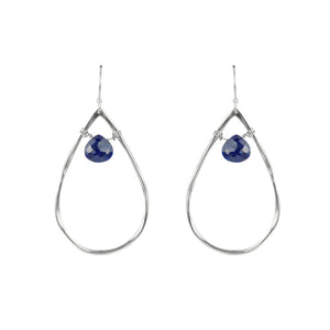 Teardrop and Stone Hoop Earrings in Lapis