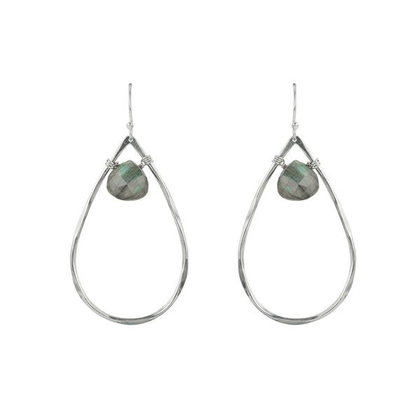Teardrop and Stone Hoop Earrings in Labradorite
