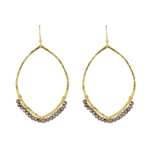 Hammered Ellipse Earrings in Gold
