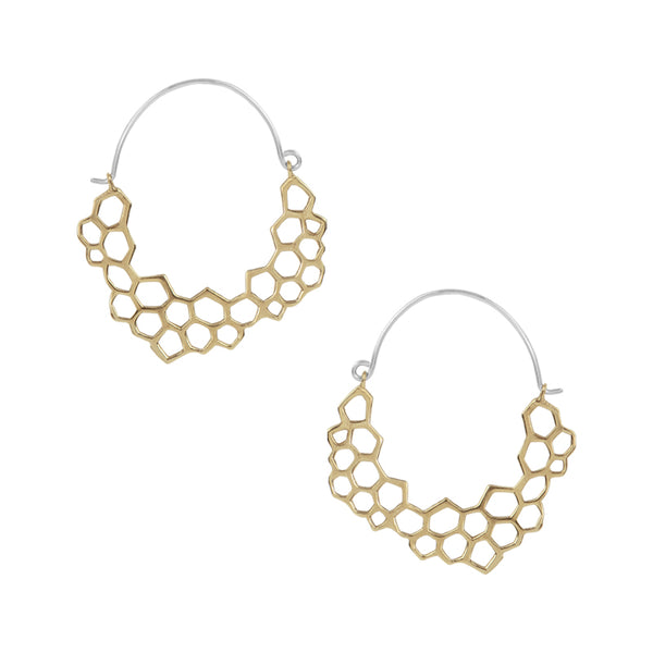 Bronze Honeycomb Hoop Earrings