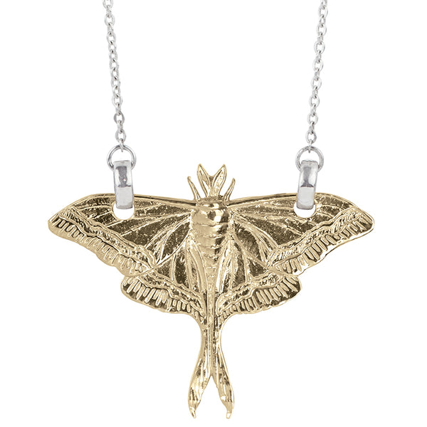 Luna Moth Necklace in Bronze