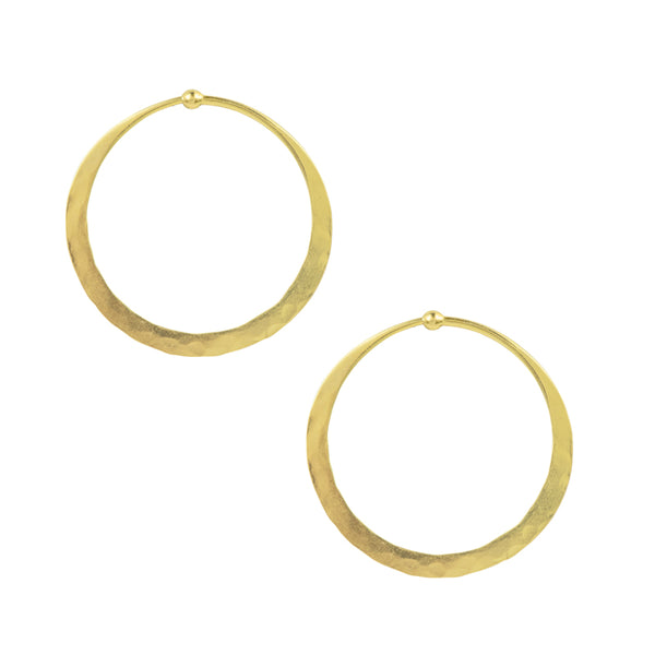 Hammered Hoops in Gold - 1 1/2""
