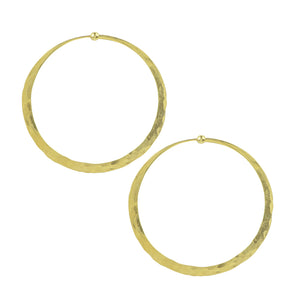 Hammered Hoop Earrings - Large in Gold