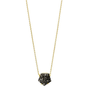 Dark Star Druzy Necklace in Gold