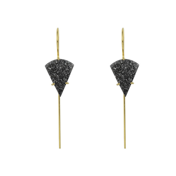 Sector Druzy Earrings in Gold