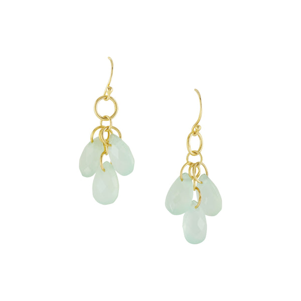 Triple Faceted Aqua Chalcedony Earring