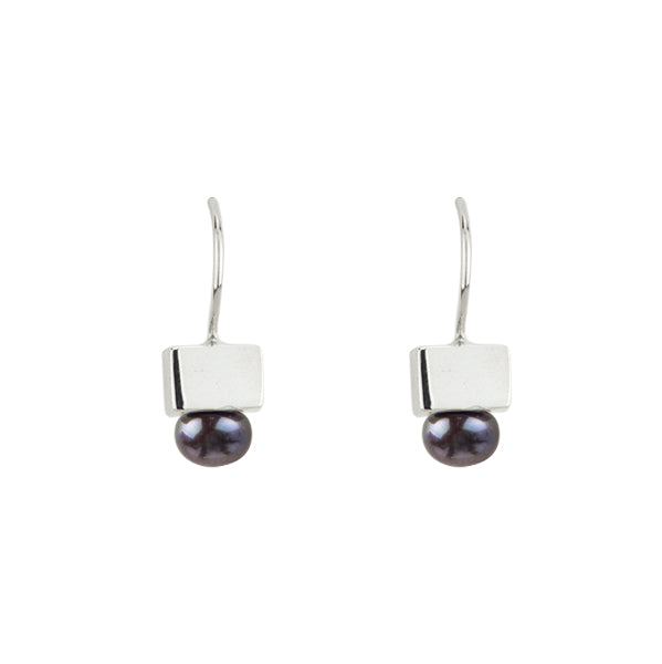 Black Pearl Cubist Earrings