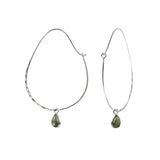 Oval Labradorite Hoops in Silver