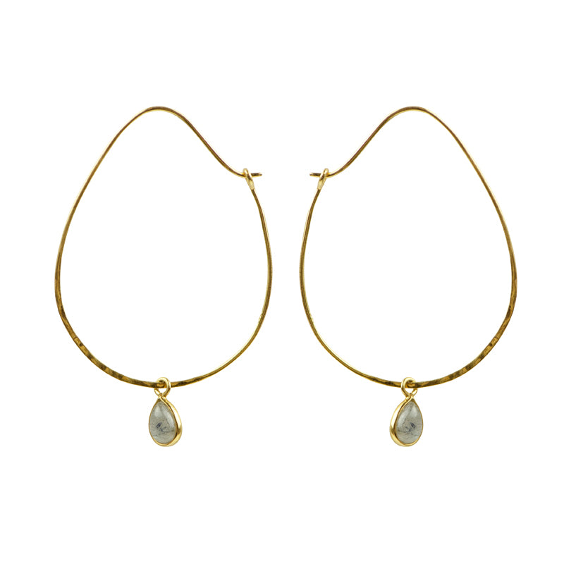 Oval Labradorite Hoops in Gold