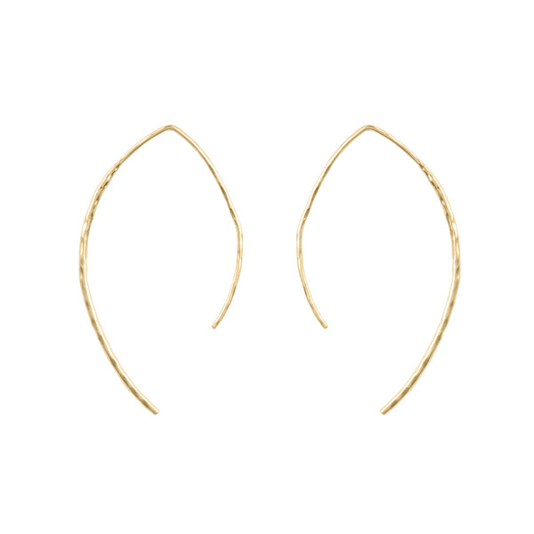 Curved Bar Open Hoops in Hammered Gold