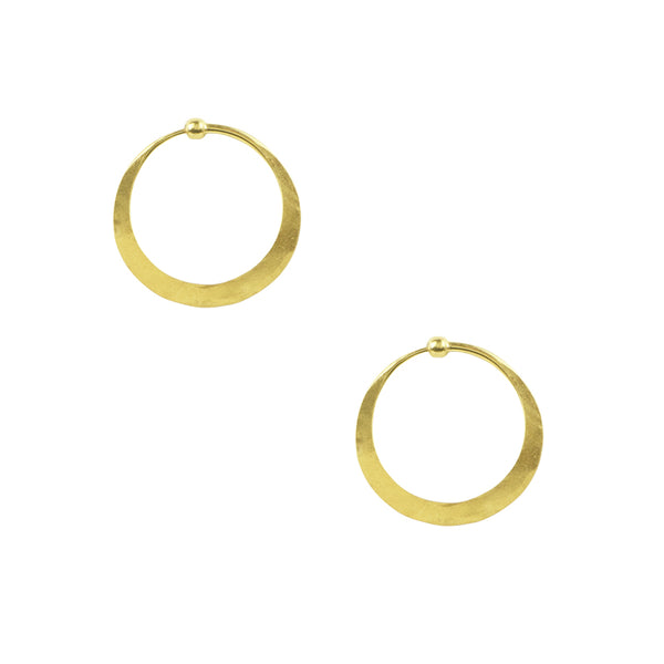 Hammered Hoop Earrings - Small in Gold