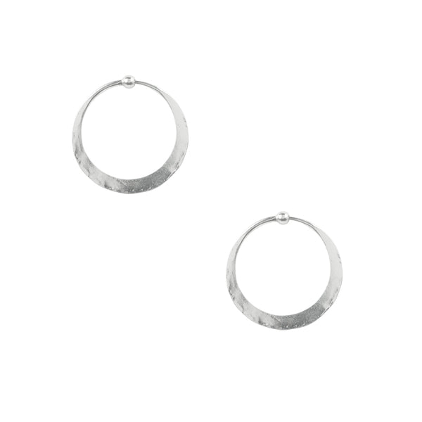 Hammered Hoop Earrings - Small in Silver