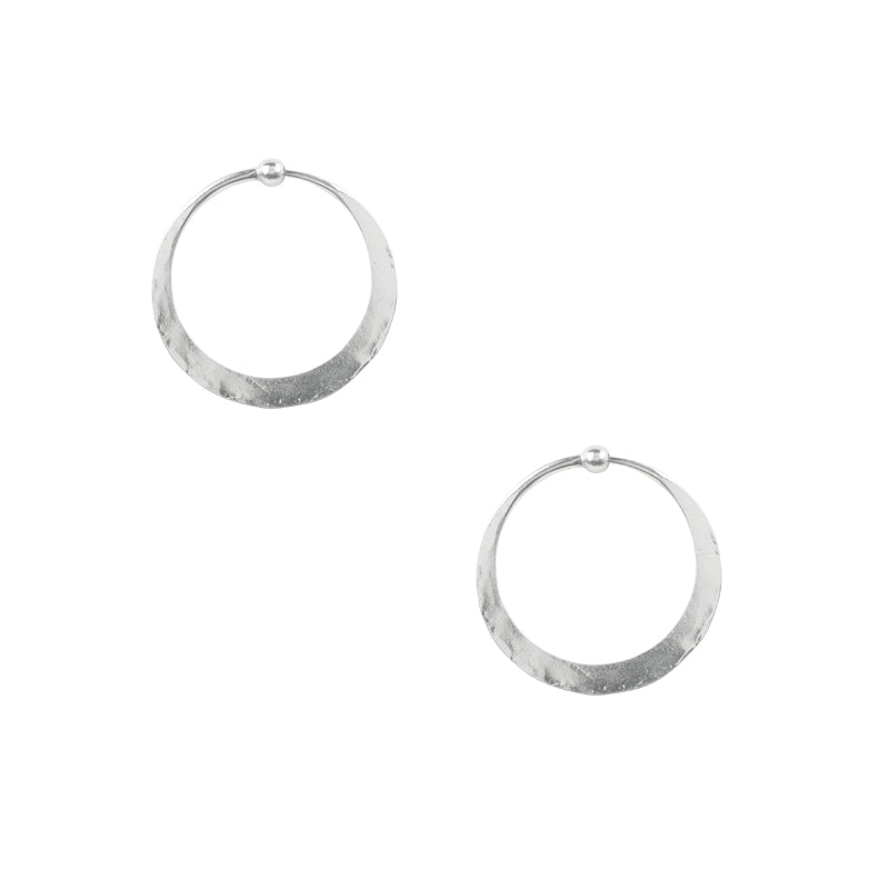 Hammered Hoops in Silver - 1""