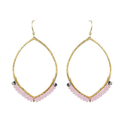 Hammered Ellipse Earrings in Rose Quartz & Gold