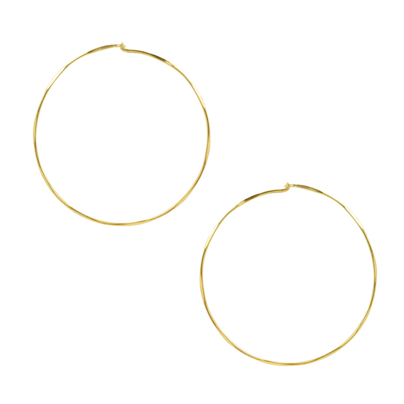 Hammered Sleeper Hoops - Large in Gold