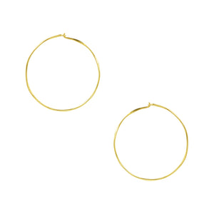 Hammered Sleeper Hoops - Medium in Gold