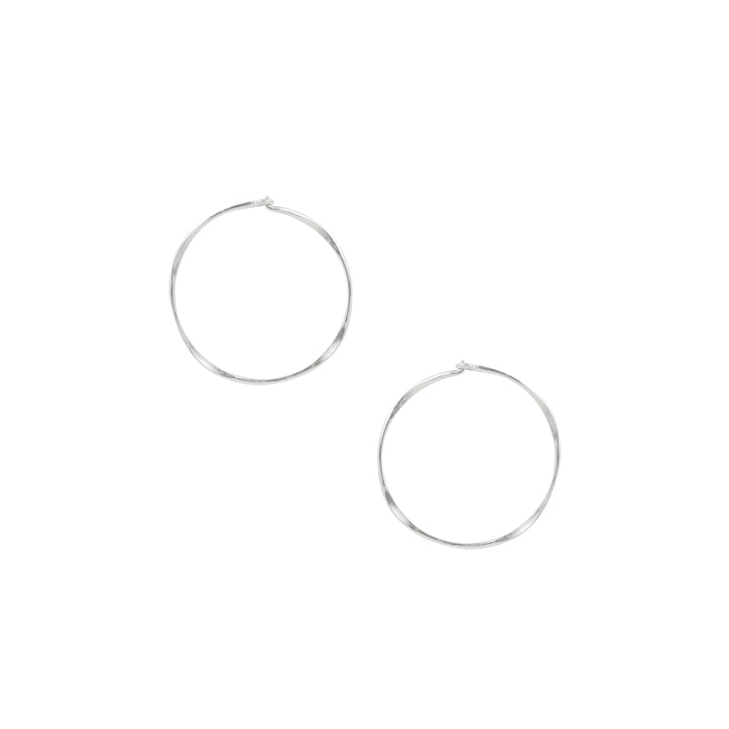 Hammered Sleeper Hoops - Small in Silver