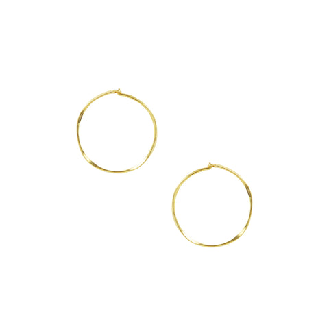 Hammered Sleeper Hoops - Small in Gold