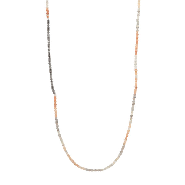 Shaded Moonstone and Sterling Beaded Strand Necklace- Long