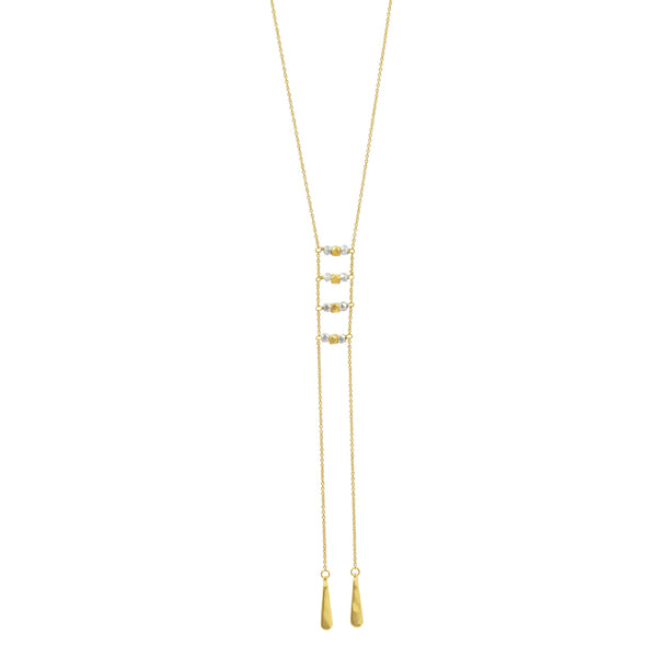 Ladder Lariat Necklace in Gold