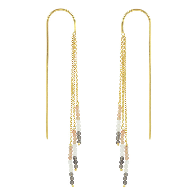 Tri-Stack Stone Earrings in Gold & Shaded Moonstone