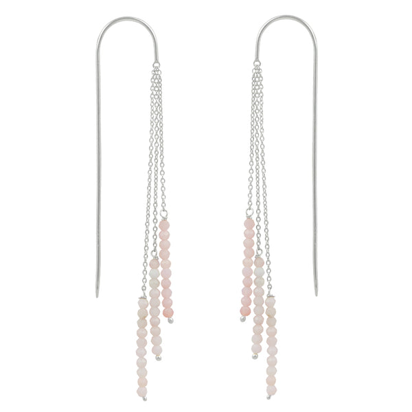 Tri-Stack Stone Earrings in Silver & Pink Opal