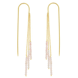 Tri-Stack Stone Earrings in Gold & Pink Opal