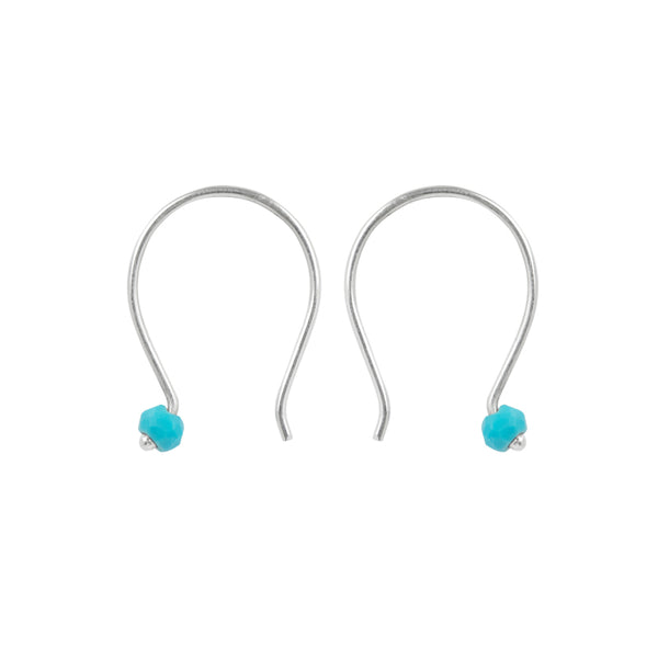Small Curve Earring in Turquoise & Silver