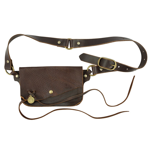 Saintly Convertible Belt Bag with Vintage Saint Charm- Brown