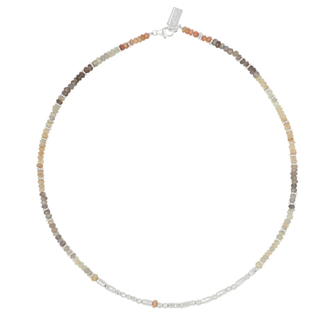 Carpe Diem Morse Code Necklace - Short in Shaded Moonstone