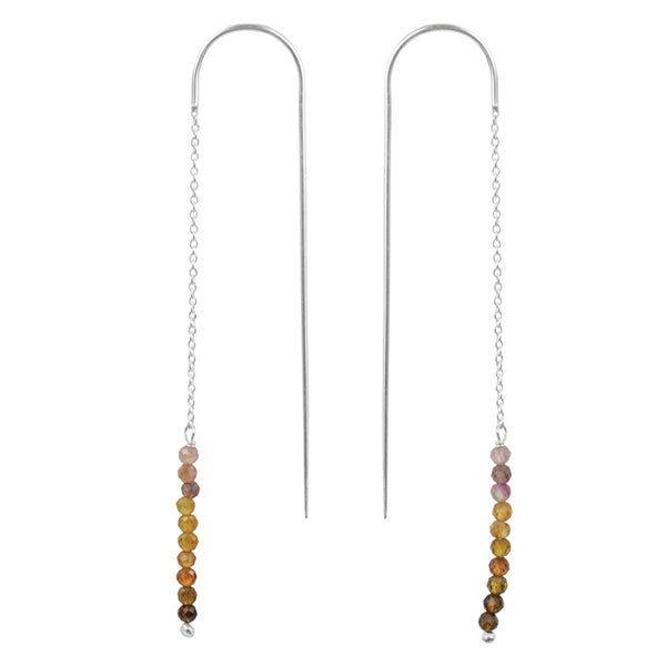 Stone Stack Threader Earrings in Tourmaline