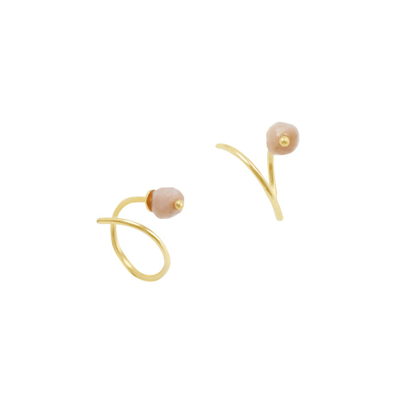 Stone Curl Earring in Gold & Pink Opal