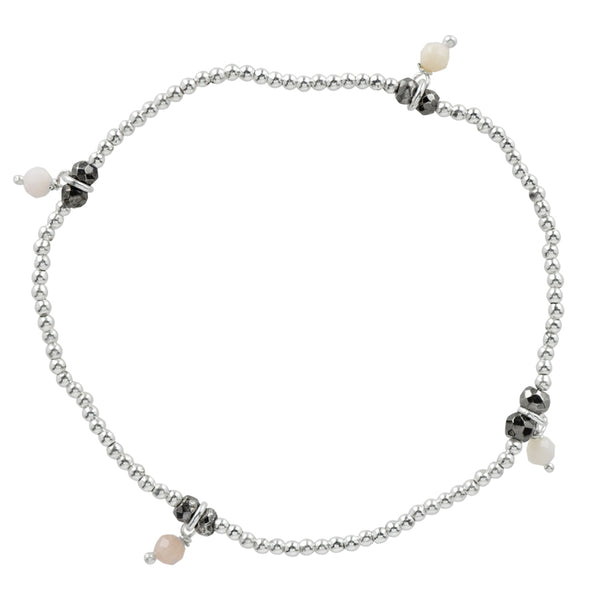 Silver Pyrite's Booty Stretch Bracelet in Pink Opal & Antiqued Silver