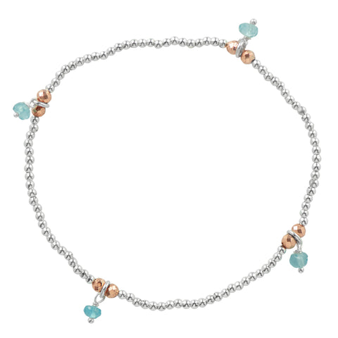 Silver Pyrite's Booty Stretch Bracelet in Blue Apatite & Rose Gold