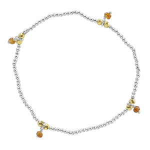 Silver Pyrite's Booty Stretch Bracelet in Hessonite & Gold