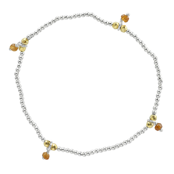 Silver Pyrite's Booty Bracelet in Hessonite & Gold