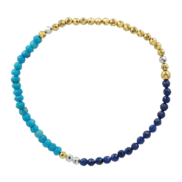 Pyrite's Booty Bracelet in Lapis & Turquoise & Gold Pyrite | Available to Ship 6/11