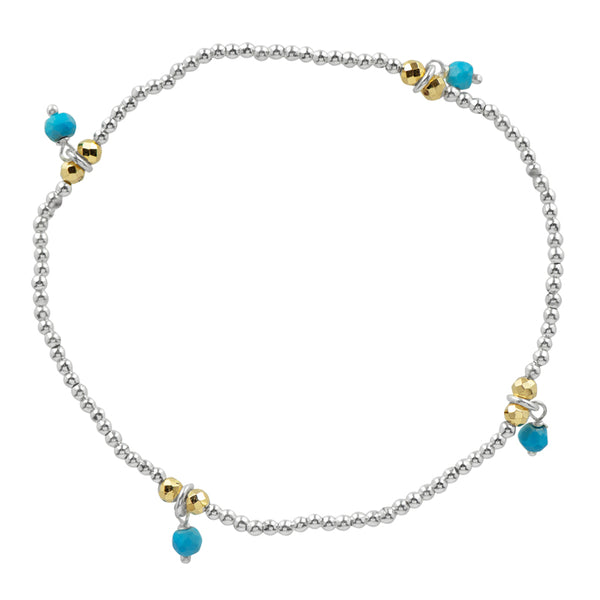 Silver Pyrite's Booty Stretch Bracelet in Turquoise & Gold