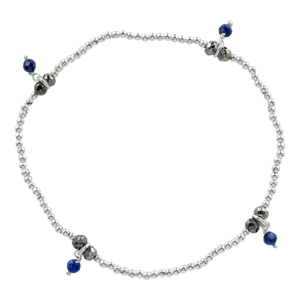 Silver Pyrite's Booty Stretch Bracelet in Lapis & Antiqued Silver