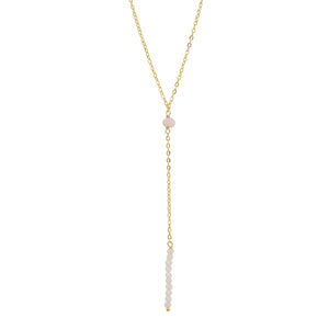 Light As Air Lariat Necklace in Pink Opal & Gold