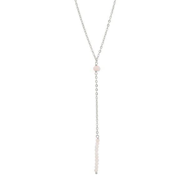 Light As Air Lariat Necklace in Pink Opal & Silver