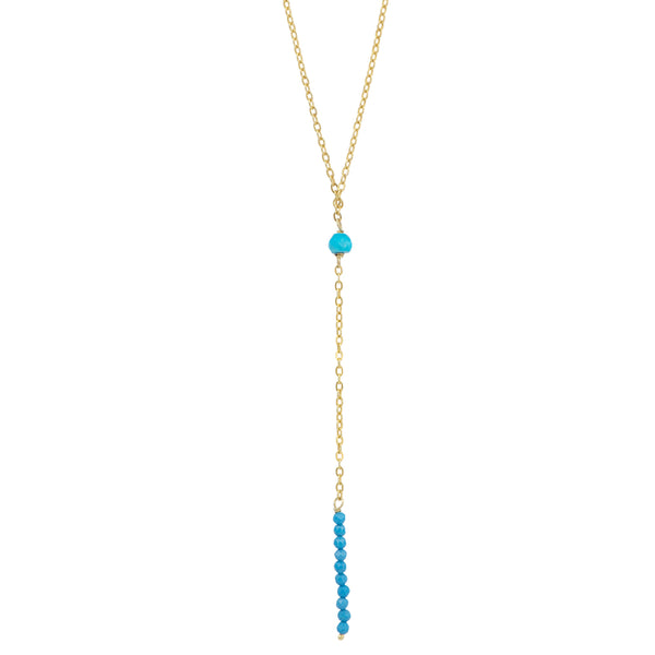 Light As Air Lariat Necklace in Turquoise & Gold