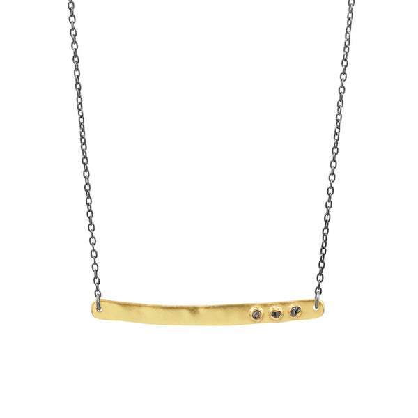 Reversible Stone Bar Necklace in Ruby & Raw Diamond