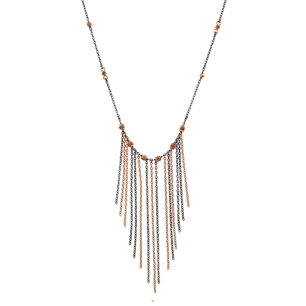 Falling Fringe Necklace - Rose Gold & Rhodium Sterling