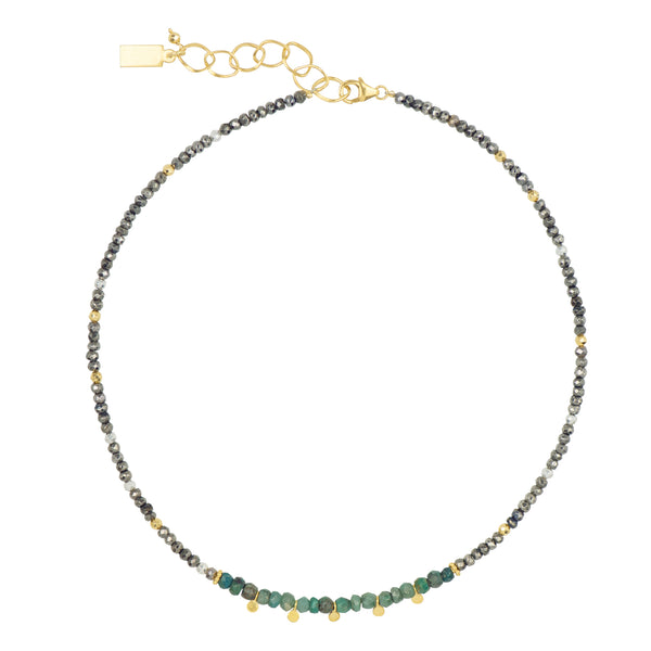 Bohème Necklace in Chrysocolla and Pyrite Necklace