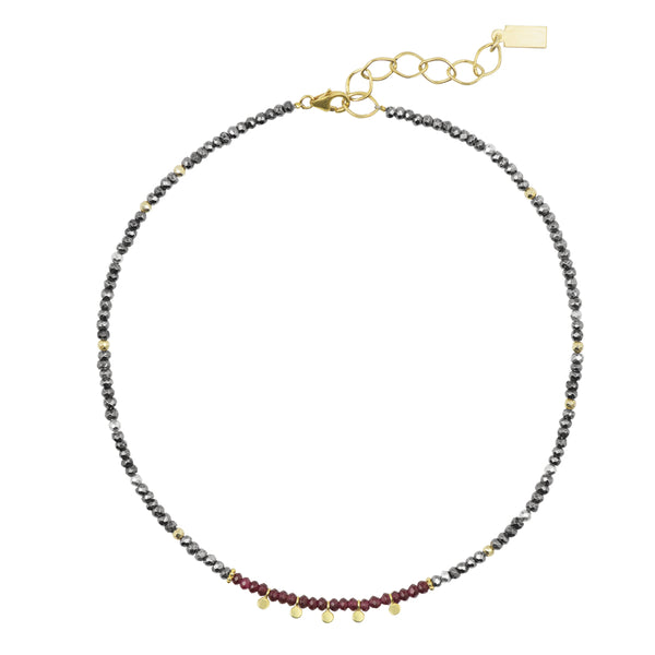 Bohème Necklace in Garnet and Pyrite