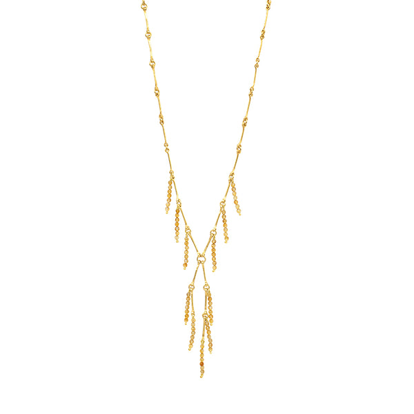 Up All Night Cascading Stone Necklace in Citrine