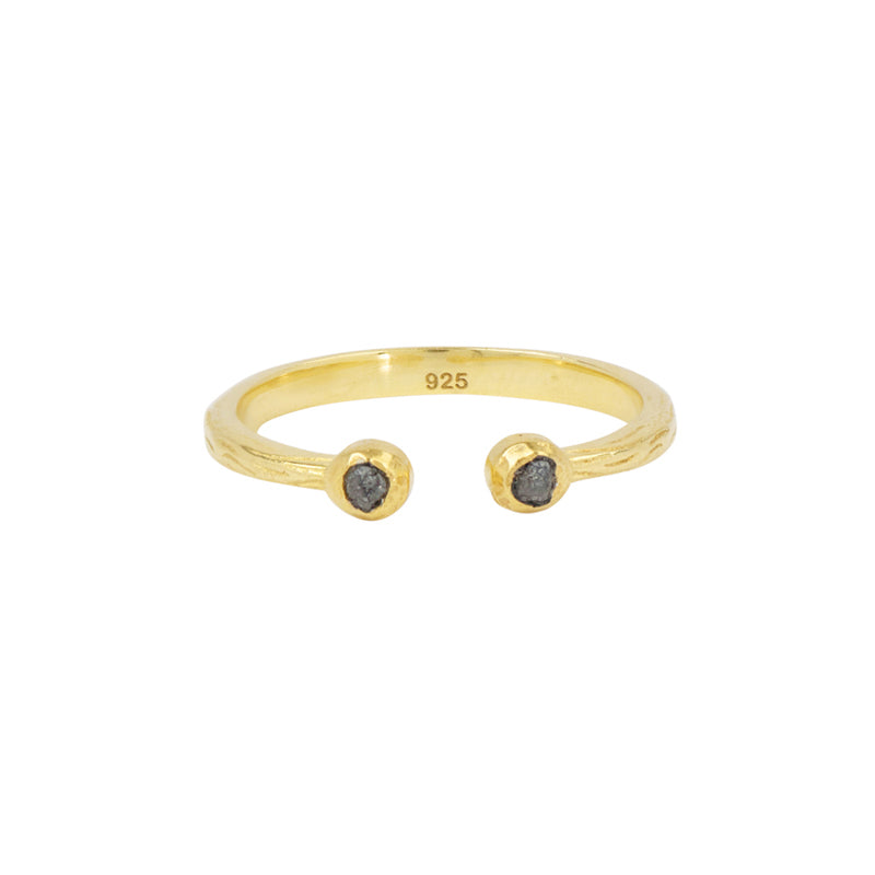 Soufflé Stone Stacker Ring in Raw Diamond and Gold