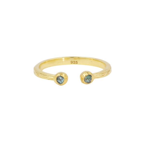 Souffle Stone Stacker Ring in Chrysocolla and Gold